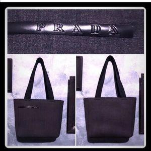 Prada Black & Gray Double Handle Logo Front Bag